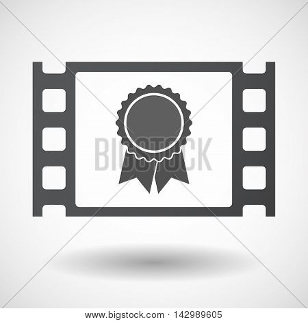 Isolated Celluloid Film Frame Icon With  A Ribbon Award