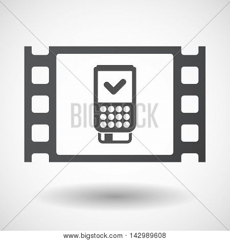 Isolated Celluloid Film Frame Icon With  A Dataphone Icon