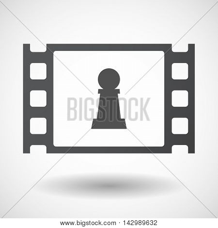 Isolated Celluloid Film Frame Icon With A  Pawn Chess Figure