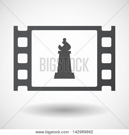 Isolated Celluloid Film Frame Icon With A Bishop    Chess Figure