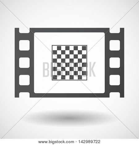 Isolated Celluloid Film Frame Icon With  A Chess Board