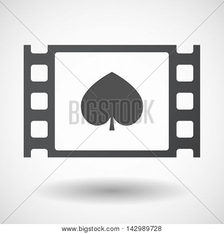 Isolated Celluloid Film Frame Icon With  The  Spade  Poker Playing Card Sign