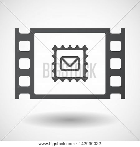 Isolated Celluloid Film Frame Icon With  A Mail Stamp Sign