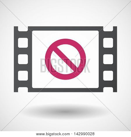 Isolated Celluloid Film Frame Icon With  A Forbidden Sign