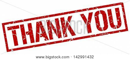 thank you stamp. red grunge square isolated sign