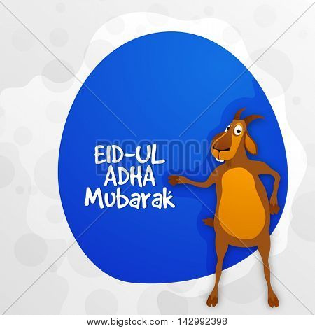 Muslim Community, Festival of Sacrifice, Eid-Al-Adha Mubarak with Goat, Vector greeting card design.