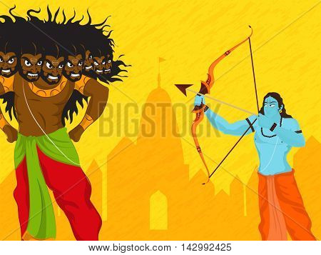 Creative illustration of Lord Rama killing Ravana on temple silhouetted yellow background for Indian Festival, Happy Dussehra celebration.