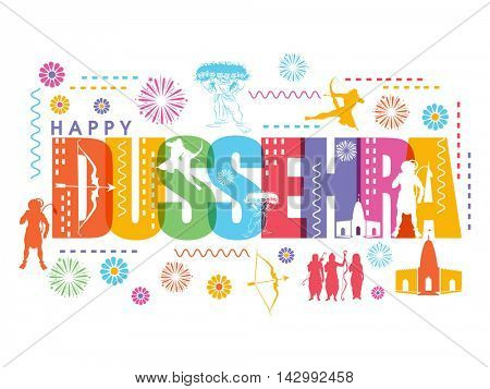 Happy Dussehra celebration background with different elements, Can be used as Poster, Banner or Flyer design for Indian Festival concept.