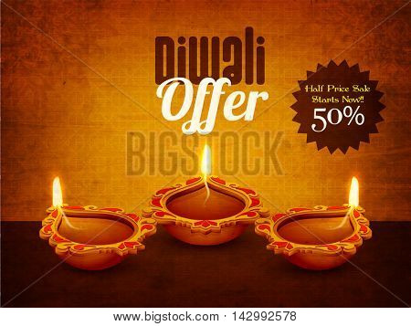 Best Diwali Offer Flyer, Elegant Special Sale Banner, Clearance Poster, Half Price Sale, 50% Off, Vector illustration with Beautiful Illuminated Oil Earthen Lamp for Festival of Lights Celebration.