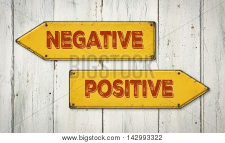 Direction Signs On A Wooden Wall - Negative Or Positive