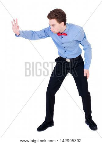 Referee suit and tie butterfly separates boxers. Isolated over white background. the referee gives the command to stop.