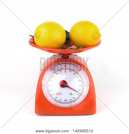 lemon in weight scale kilogram isolated health