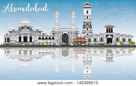 Ahmedabad Skyline with Gray Buildings, Blue Sky and Reflections. Vector Illustration. Business Travel and Tourism Concept with Historic Buildings. Image for Presentation Banner Placard and Web Site.