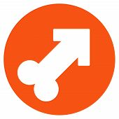 Erection vector icon. Style is flat symbol, orange color, rounded angles, white background. poster