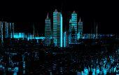 Render hologram futuristic 3d city neon light poster
