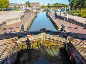 High dynamic range HDR Canal lock gate in Stratford upon Avon UK poster