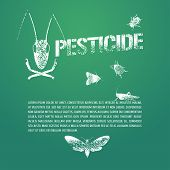 Set of pest insects and template bodycopy vector illustration. Design element icons of agriculture and garden pest bugs fly colorado beetle locust moths. Pesticide stamp sign poster