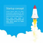 Rocket launch startup minimalist business concept in flat style. Business startup launch concept with rocket icon. Banner business development concept web infographics. poster