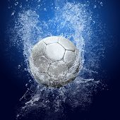 Water drops around soccer ball on blue background poster