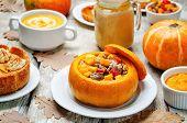 List of pumpkin dishes. Pumpkin Latte; Pumpkin stuffed with meat and vegetables; pumpkin tartlet; pumpkin soup; pumpkin puree. poster