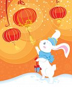 Cute white rabbit touch a paper lantern with curiosity poster