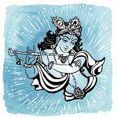 Hindu young god Lord Krishna. Happy janmashtami poster