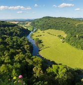 Stunning English countryside in the Wye Valley and River Wye between the counties of Herefordshire and Gloucestershire England UK from Yat Rock poster