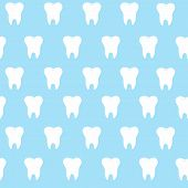 simple cartoon tooth pattern hite silhouette on a blue background teeth vector illustration icon logo first tooth. Medical dental office symbols. Care the oral cavity dental health poster