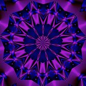 digital manipulation with a purple circle pattern effect in blue poster