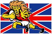 illustration of a cartoon British Lion playing rugby running with ball fending off with Union Jack Flag isolated on white background poster