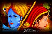 easy to edit vector illustration of Lord Krishna and Radha on Happy Janmashtami background poster