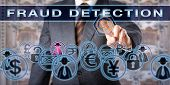 Civil or criminal investigator is touching the words FRAUD DETECTION on a transparent control screen. Forensic science and law enforcement concept. Cyber crime and deception metaphor. poster