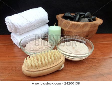 Spa Treatment Products; Scene On A Wooden Table With Black Background, Includes Mineral Soaking Salt