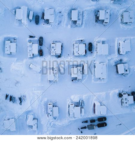Aerial Winter View Of Camping Place With Caravans, Trailer Park And Cabin Cottage Houses, Northern S
