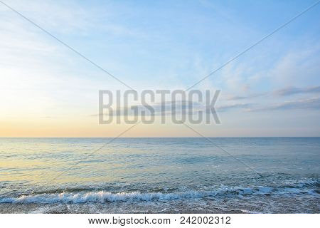 Sunrise At The Sea. Seascape Of The Morning Dawn. Early Morning On The Beach.