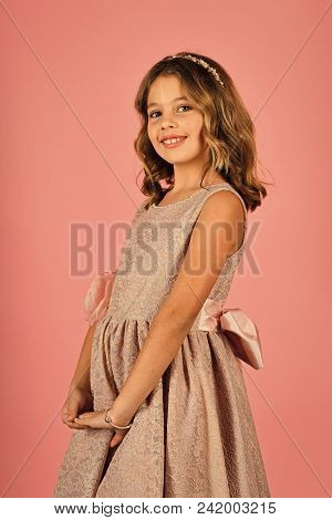 Face Fashion Little Girl Or Kid In Your Web Site. Little Girl Face Portrait In Your Advertisnent. Fa