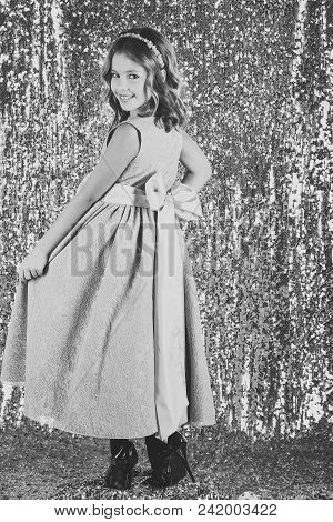 Face kid for magazine cover. Girl kids face portrait in your advertisnent. prom dress on pretty small girl. prom, party, celebration. poster
