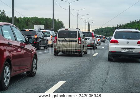 Moscow, Russia - May, 21, 2018: traffic jam in Moscow