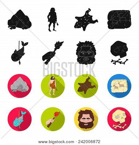 Primitive, Fish, Spear, Torch .stone Age Set Collection Icons In Black, Flet Style Vector Symbol Sto