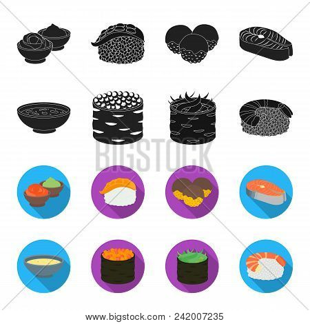 Bowl Of Soup, Caviar, Shrimp With Rice. Sushi Set Collection Icons In Black, Flet Style Vector Symbo