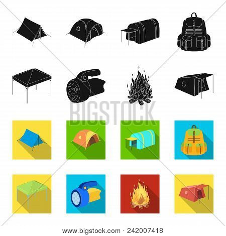 Awning, Fire And Other Tourist Equipment.tent Set Collection Icons In Black, Flet Style Vector Symbo