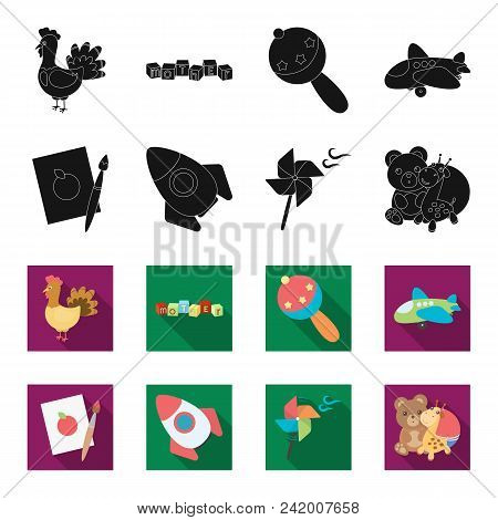 Children Toy Black, Flet Icons In Set Collection For Design. Game And Bauble Vector Symbol Stock Ill