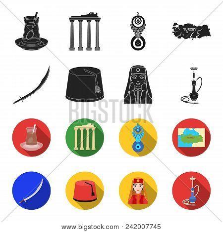 Turkish Fez, Yatogan, Turkish, Hookah.turkey Set Collection Icons In Black, Flet Style Vector Symbol