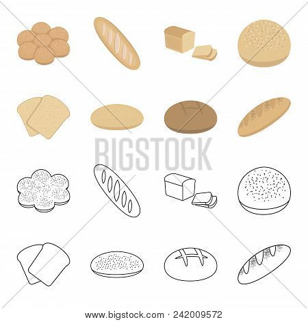 Toast, Pizza Stock, Ruffed Loaf, Round Rye.bread Set Collection Icons In Cartoon, Outline Style Vect