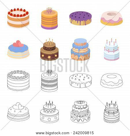 Sweetness, Dessert, Cream, Treacle .cakes Country Set Collection Icons In Cartoon, Outline Style Vec