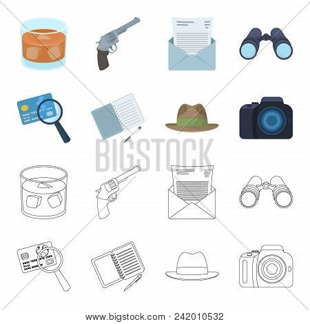 Camera, Magnifier, Hat, Notebook With Pen.detective Set Collection Icons In Cartoon, Outline Style V