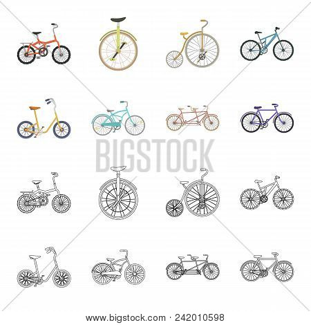 Children Bicycle, A Double Tandem And Other Types.different Bicycles Set Collection Icons In Cartoon