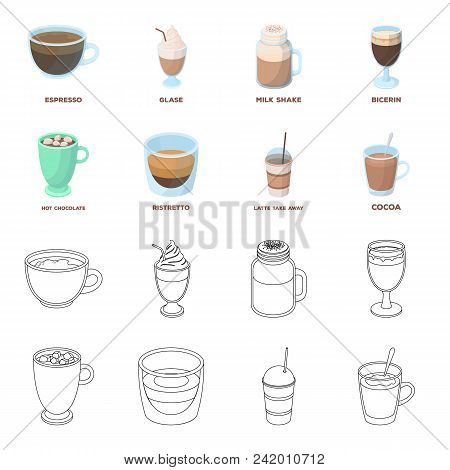 Ristretto, Hot Chocolate, Latte Take-away.different Types Of Coffee Set Collection Icons In Cartoon,