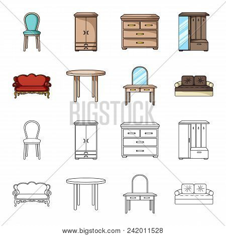 Sofa, Armchair, Table, Mirror .furniture And Home Interiorset Collection Icons In Cartoon, Outline S