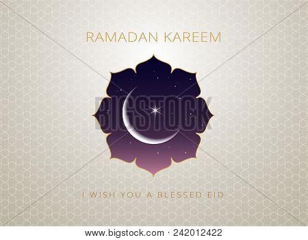 Ramadan Kareem Gold Greeting Card Vector Design Islamic Line Art Illustration